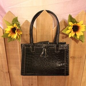 Liz Claiborne Black Tassle Hand Bag Purse Satchel